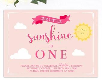 Our Little Sunshine Invitation, Sunshine Birthday Invitation, Sunshine Party, Printable Invitation, Sunshine Birthday, Our little Sunshine