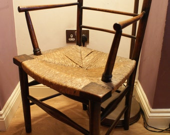 Arts and Crafts rush seated arm chair circa 1870
