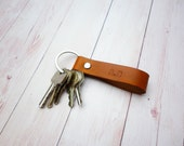 Custom Initial Leather Key Fob//Personalized hand stamped Keyring Keychain//Gifts under 10//Gifts for him and her//Personalized Gifts