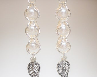 Chain Maille Captured Bead Earrings