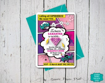 Super Hero Party Invitation Printable. Superhero Comic Birthday Party. Boy or Girl Birthday Invitation