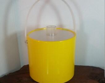 Yellow Vinyl Ice Bucket, Shelton-Ware Ice Bucket Yellow, Cheerful Bright Yellow Vinyl and Plastic , Mid Century Style Barware Ice Bucket