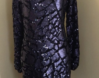 Sequinned Beautiful Blue Dress/ size 16