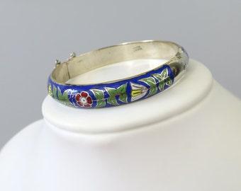 1960's - 1970's Vintage Enamel Bracelet / Hinged Bangle - Hand Painted Blue, Red & Yellow Floral Design