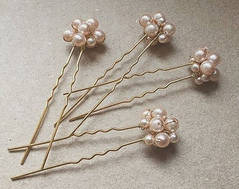 Handmade Set of 4 Rose Pink Bridal Hair Pins, Wedding, Bride