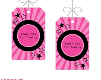 Rock Star Party Favor Tags, Party Decor, Instant Download, Editable Text, Personalize with Adobe Reader