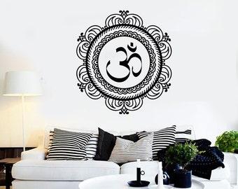 Wall Vinyl Decal Om Yoga Buddha Meditation Cool Decor 2327di