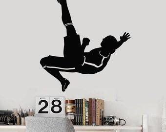 Wall Vinyl Decal Soccer Player Kicking Ball Guaranteed Quality Decor 2355di