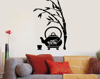 Wall Art Mural Bamboo Tree Branch Tea Pot Decor 2395di
