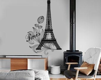 Wall Vinyl Decor Art Paris Eiffel Tower France Travel Vacation Amazing Decor 1282dz