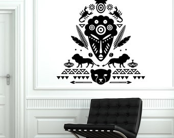 Wall Decal African Mask Symbol Scorpion Tribal Cool Mural Vinyl Decal 1722dz