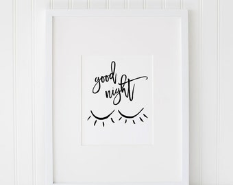 Good Night INSTANT DOWNLOAD Printable Art, Black and White Printable Art, Nursery Art, Printable Art, Instant Download Printable Art, Sleep