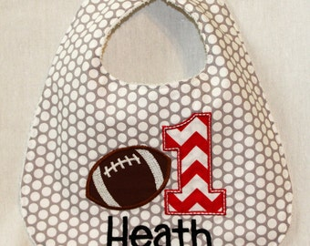 Boy's First Birthday Bib  - With football and 1.  Includes personalization.