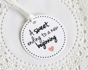 Thank You Tags, A sweet ending to a new Beginning, Personalized Color, Bridal Shower Favors, Wedding Favors, Cupcake Tags