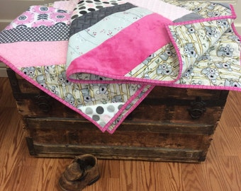 Pink and Grey Girl Koala Quilt with Minky