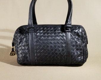 Vintage Morris Moskowitz Blue Leather Bag, Shoulderbag, Office Bag, Handbag