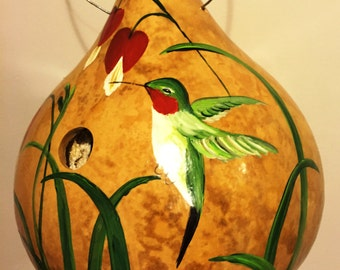 Handpainted Gourd Birdhouse with Hummingbird and Bleeding Hearts