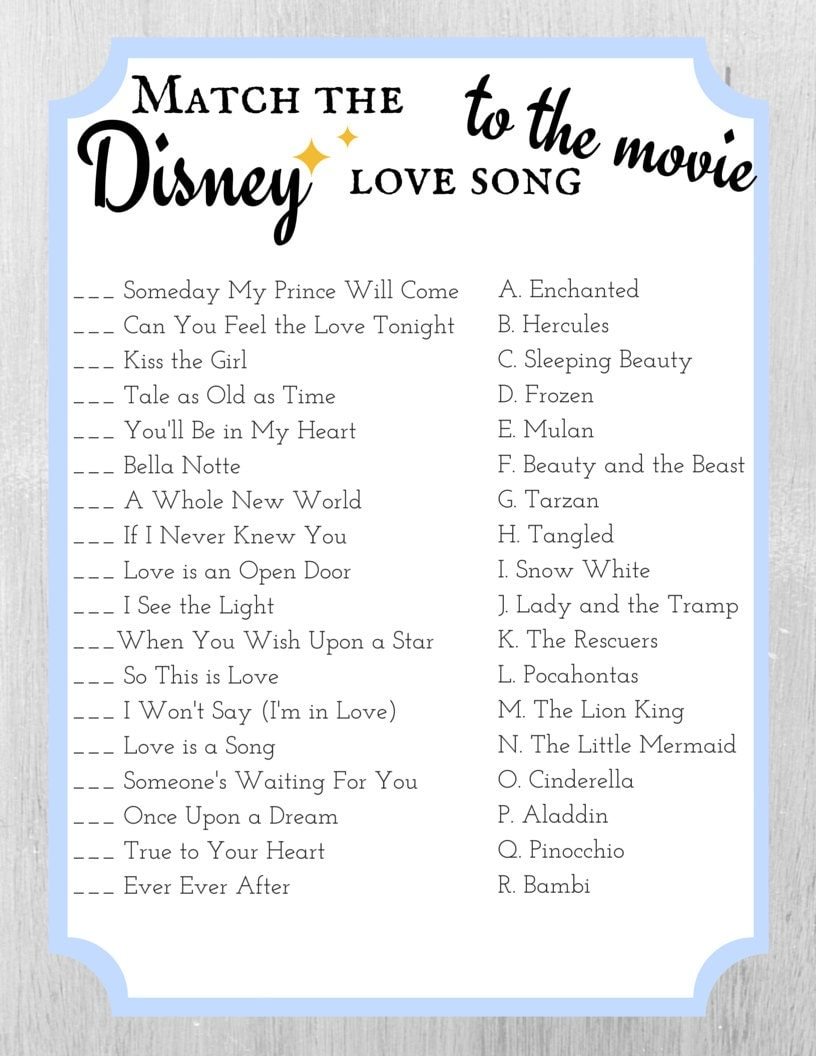 Uncategorized Love Quiz Games match the disney love song to movie bridal shower game