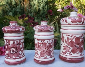 french Vintage 3 Spice jars in earthenware hand paint - 3 Vintage hand painted ceramic canisters