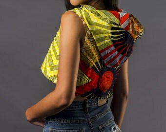 Mena Mode Ankara Sleeveless Crop Hoodie in African Fabric - Street Style