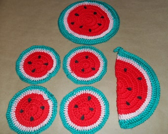 Crocheted Watermelon Potholder and Coaster Set
