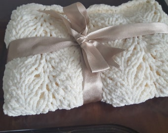 Knit Baby Blanket/ Soft Cream Knitted Baby Blanket, Multipurpose Baby Blanket