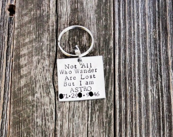 Not all who wander are lost but I am / hand stamped dog ID tag / pet ID tag / hand stamped dog tag