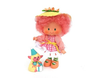 Peach Blush with Melonie Belle Pet Lamb/Sheep | Vintage Strawberry Shortcake Doll | RARE Complete Peach Blush Party Pleaser Doll & Pet