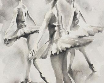 "Three Ballerinas ORIGINAL WATERCOLOUR PAINTING (14"" x 20"") Free Worldwide Shipping"