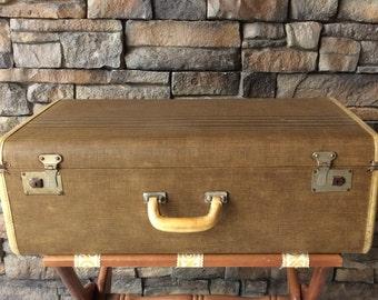 Vintage Striped Tweed Hardside Suitcase