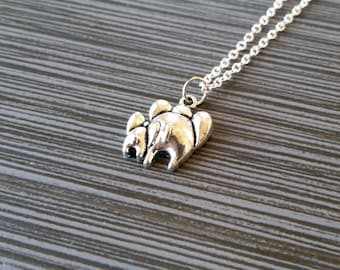 Silver Mommy and Baby Elephant Necklace - New Mom Necklace - Personalized Necklace - Custom Gift - Initial Necklace - Mother Gift