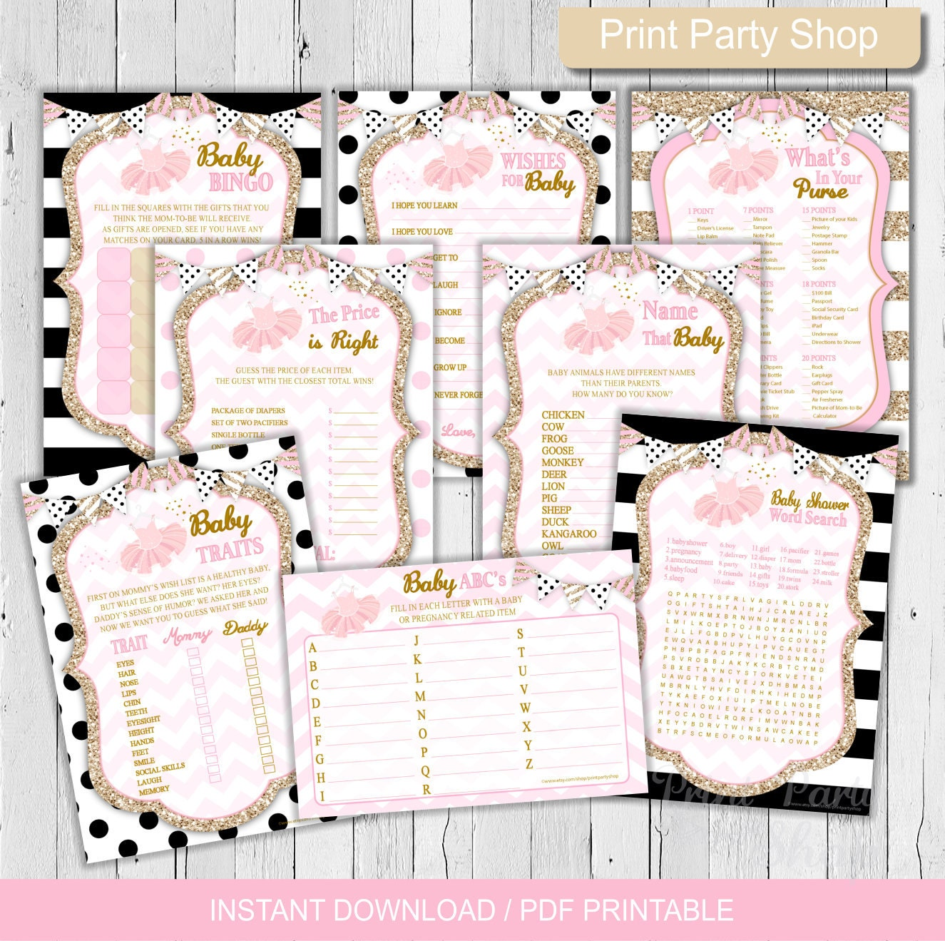 tutu baby shower games printable file baby shower games