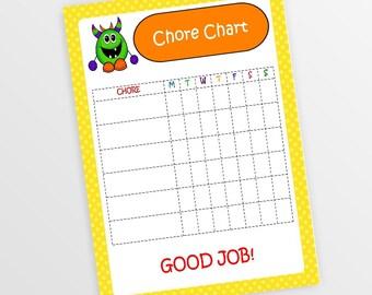 Printable Chore Chart Personalized Chore Chart Customized Chore Chart Printable Chore Chart Kids Chore Chart Kids To Do List DIGITAL IMAGE