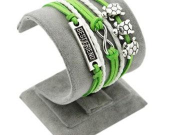Cute teen jewelry green turtle infinity bracelet Silver charm bracelet for girls Friendship bracelet infinity Teenage fashion jewelry trendy