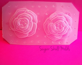 Blooming Tea Rose Flower Flexible Plastic Mold For Resin Polymer Clay Crafts