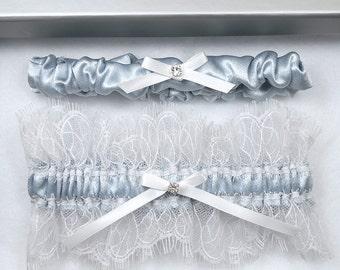 Silk Wedding Garter, Bridal Garter, Wedding Garter, Blue Garter, White Garter, Blue Satin Garter, Blue Garter, Something Blue, Garter