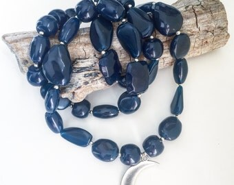 Necklace beads and moon pendant