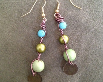Green and Blue Beaded Bronze Wire Dangle Earrings