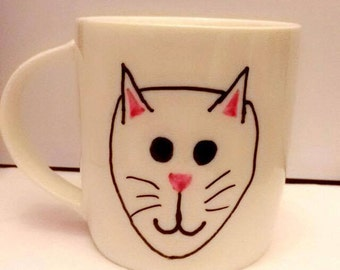 Hand Drawn Cat Mug
