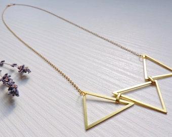 Long necklace Dublin, gold brass, geometric, graphic, modern