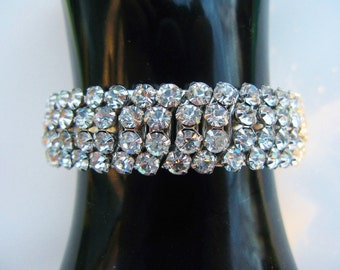 Vintage Rhinestone Expansion Bracelet Four Row Prong Set Crystal Clear Rhinestones In Silvertone Setting C. 1950's