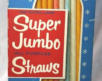 Vintage Milko Super Jumbo Milk Shake Paper Straws..Retro!