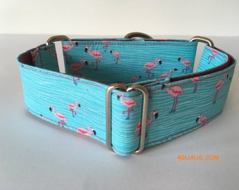 Dog Collar Flamingo, Martingale Dog Collar, Greyhound Collar, Martingale collar - 4GUAUS.com
