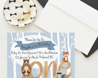 Woodland birthday invitations, Digital or 25 pack, Baby shower invitations, Personalized invitations, Baby shower for boy, Woodland party,
