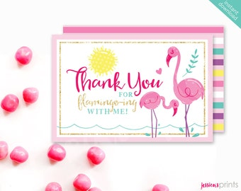 Instant Download Pink Flamingo Printable Thank You Card, Flamingo Thank You Note Card, Flamingo Party Printable, Tropical Bird