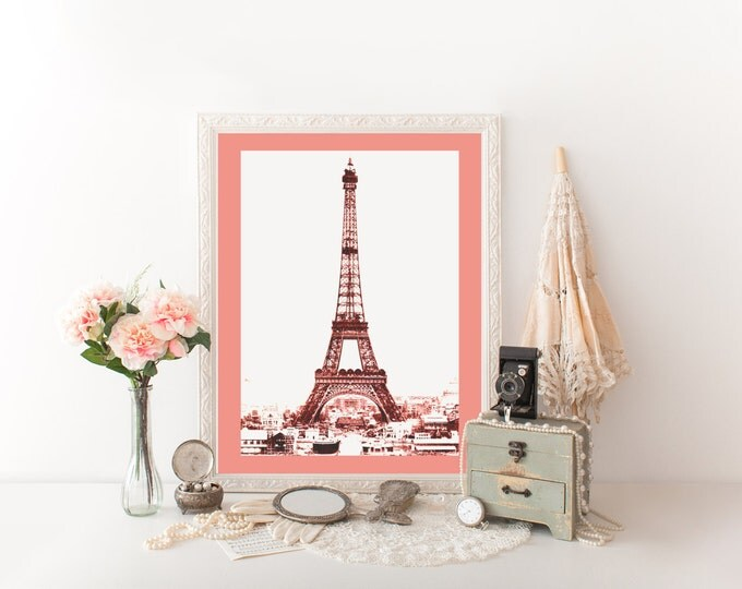 CORAL EIFFEL TOWER Photography Digital Print Coral Tinted Photograph Paris Digital Art Print French Eiffel Tower Printable Diy Wall Art