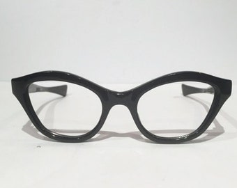 Vintage New Old Stock 50s Black Cat Eye Glasses, Black Frame France Cateye Eyeglasses, NOS, Horn Rimmed Frames, Rockabilly Hipster Pin Up