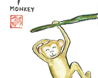 Chinese Zodiac Monkey Original Watercolor & Ink Painting