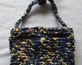 Hand Knit Bag, Hand Knit Purse, Hand Knit Handbag, Small Lined Bag, Lined Purse, Lined Handbag, Handle Purse, Small Knit Bag, Bag for Women