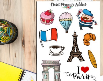 I Love Paris Travel Planner Stickers | Paris Stickers | Travel Stickers | Wanderlust Stickers | Eiffel Tower Stickers (S-164)